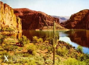 Photo postcard of a lake along the historic Apache Trail stage coach route. AHS Photo #28097