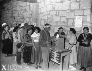 Navajo voters cast their ballots in the 1955 Tribal Election